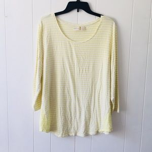 Chico's Yellow & White Long Sleeve T-shirt Size XL